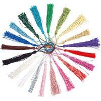 Polyester Tassel Decorations, Pendant Decorations, Mixed Color, 130x6mm; Tassel: 80mm, 20 colors, 6pcs/color, 120pcs/set