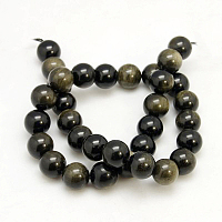 Arricraft Natural Golden Sheen Obsidian Beads Strands, Round, 6mm, Hole: 1mm, about 62pcs/strand, 16 inches