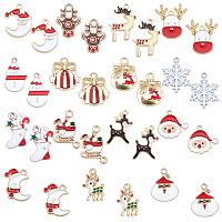 SUNNYCLUE Alloy Enamel Pendants, for Christmas, Mixed Shapes, Mixed Color, 30pcs/box