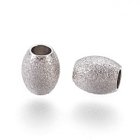 304 Stainless Steel Textured Beads, Oval, Stainless Steel Color, 6x5mm, Hole: 2.3mm