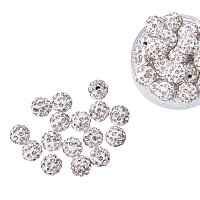 NBEADS 8mm 100pcs Pave Czech Crystal Rhinestone Disco Ball Clay Spacer Beads, Round Polymer Clay Charms Beads for Shamballa Jewelry Making