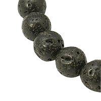 "ARRICRAFT 20 Strands 16"" 4mm Black Round Natural Lava Beads Strands, About 90pcs/Strand"