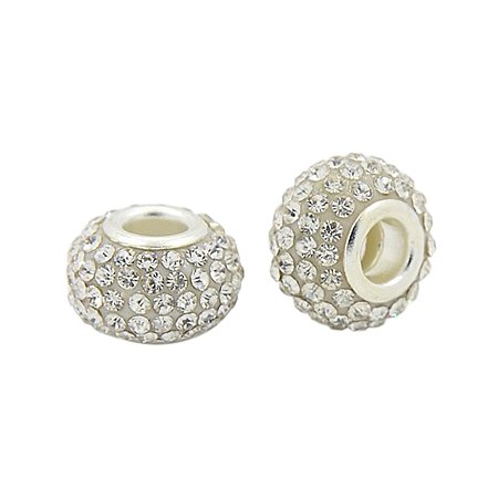 NBEADS 50 Pcs 12mm Grade A Resin Rhinestone European Beads Rondelle Large Hole fit Charm Bracelet, with Silver Color Brass Core, Crystal, 8mm Thick, Hole: 4mm