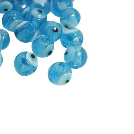 NBEADS 20 Pcs 6mm Sky Blue Evil Eye Lampwork Beads Handmade Round Glass Beads for Jewelry Making