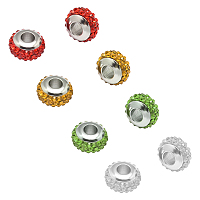 UNICRAFTALE Rondelle 304 Stainless Steel Polymer Clay Rhinestone European Beads, with Double Side Platinum Color Core, Stainless Steel Color, Mixed Color, 10x6mm, Hole: 4mm; 4 colors, 2pcs/color, 8pcs/box