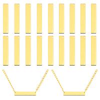 PANDAHALL ELITE Brass Pendants, Rectangle, Golden, 6x35x0.8mm, Hole: 1mm; 20pcs/box