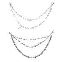 CHGCRAFT Alloy Chains Belt, with Iron Swivel Clasps, Garment Accessories, Platinum, 46.6cm/47.2cm; 2pcs/box