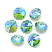 Pointed Back Glass Rhinestone Cabochons, Rivoli Rhinestone, Back Plated, Faceted, AB Color Plated, Cone, Light Green, 14x6.5mm