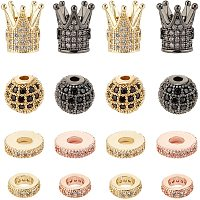 Brass Micro Pave Clear Cubic Zirconia Beads, Round & Crown & Gear, Mixed Color, 16pcs/box