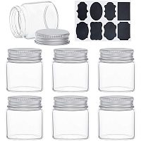 BENECREAT 15PCS 1.7oz Clear Glass Bottles Candy Bottle with Aluminum Screw Top Empty Sample Jars with 2 Sheets Labels for Spice Herbs Small Items Storage Wedding Favors