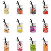 NBEADS 60 Pcs Mini Fruit Tea Pendants, 12 Colors Resin Bottle Boba Fruit Tea Charms Dangle Earring Necklace Pendants for DIY Jewelry Making