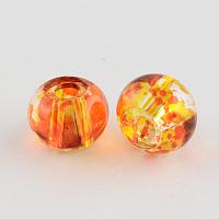 Spray Painted Glass European Beads, Large Hole Beads, Rondelle, Dark Orange, 12x9mm, Hole: 3mm