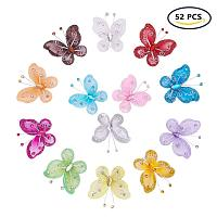 BENECREAT Polyester Butterfly Decoration, with Iron and Acrylic Rhinestone, Mixed Color, 50~56x54~56x5~7mm; 4pcs/color, 52pcs/set