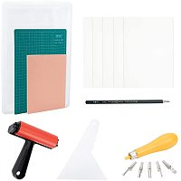 NBEADS 17 Pcs Rubber Block Printing Tool Kit, Rubber Stamp Roller Brush Carving Cutter Tracing Paper PVC Cutting Mat for DIY Carving and Printing