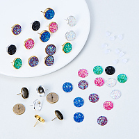 SUNNYCLUE 1 Box 141pcs DIY Jewelry Druzy Earrings Making Starter Kit Include 6 Color 60pcs Round Druzy Agate Resin Cabochons 12mm, and 3 Color 30pcs Brass Stud Earrings Settings