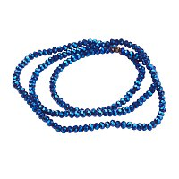 NBEADS 10 Strands Blue Plated Faceted Abacus Electroplate Glass Bead Strands with 3x2mm,Hole: 0.5mm,about 200pcs/strand