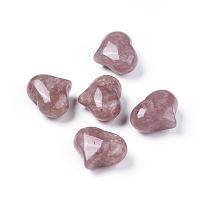 NBEADS Natural Strawberry Quartz Beads, No Hole/Undrilled, Heart, 20x25x11~13mm