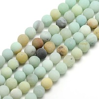 Frosted Natural Amazonite Round Bead Strands, 8mm, Hole: 1mm; about 47~49pcs/strand, 14.9~15.6 inches