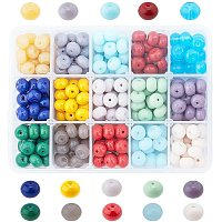 Pandahall Elite 15 Color 10mm Opaque Beads for Jewelry Making, Solid Color Disc Opaque Glass Beads for Spring Necklace Bracelets Making