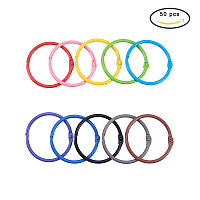 """PandaHall Elite 50 Pieces 10 Color Book Rings Loose Leaf Binder Ring Key Chain Key Rings (1.77"""")"""