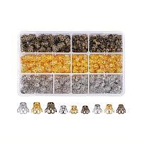 PandaHall Elite 840 pcs 3 Sizes 3 Colors Flower Shape Iron Flower Petal Bead Caps Spacers for Earring Bracelet Necklace DIY Jewelry Making, Golden/Antique Bronze/Platinum