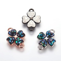 Brass Enamel Links connectors, with Freshwater Shell, Four Leaf Clover, Mixed Color, 16.5x12x2.5mm, Hole: 1.5mm