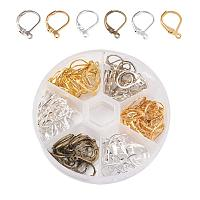 PandaHall Elite 1 Box (About 120pcs) Brass Leverback Earring Findings Jewelry Making Silver & Platinum & Golden & Antique Bronze (10x15mm)