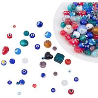 NBEADS 130g Mixed Shape Handmade Lampwork Beads, 30 Random Mixed Kinds of Mixed Color Evil Eye Charm Beads Round Lampwork Loose Beads for DIY Handcraft Accessories Jewelry Making