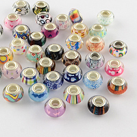 Arricraft Large Hole Acrylic European Beads, with Silver Color Plated Brass Double Cores, Rondelle, Mix Pattern, Mixed Color, 14x9~10mm, Hole: 5mm