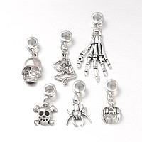 Arricraft Halloween Tibetan Style Alloy European Dangle Beads, Antique Silver, 26~47mm; Hole: 5mm
