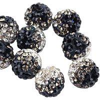 Pandahall Elite 100pcs 10mm Two-Tone Rhinestone Clay Beads Clay Pave Disco Ball Shamballa Clay Beads for Jewelry Making - Black & Crystal