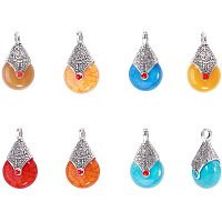 Arricraft 42 pcs 7 Styles Drop Shape Resin Pendants with Alloy Enamel for Earring Necklace Jewelry DIY Craft Making, Mixed Colors