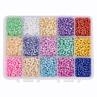 PandaHall Elite About 6750pcs 15 Color 8/0 Glass Seed Beads 3mm Mini Beads with Container Box for Jewelry Making