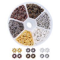 PandaHall Elite 600 PCS 6x1.5mm 6 Color Snowflake Antique Tibetan Silver Alloy Spacer Beads Jewelry Findings Accessories for Bracelet Necklace Jewelry Making
