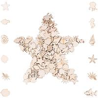 PandaHall Elite 200 pcs Mixed Shape Marine Animal Theme Unfinished Blank Wood Slices Wood Cutouts Pieces for Pyrography Painting Writing DIY Arts Craft Project Book Signing Decoration