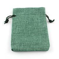 Burlap Packing Pouches Drawstring Bags, Medium Sea Green, 9x7cm