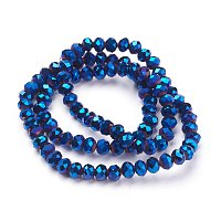 NBEADS 1 Strand 6mm Blue Plated Glass Abacus Bead Strand about 100pcs/strand 17.7 inch for Jewelry Making and Beading Decoration Beads
