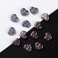 Arricraft Czech Glass Beads, Maple Leaf, Slate Blue, 10.5x13x4mm, Hole: 0.8mm, about 11pcs/10g