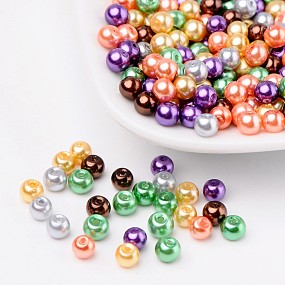 Arricraft Halloween Mix Pearlized Glass Pearl Beads, Mixed Color, 4mm, Hole: 1mm, about 400pcs/bag