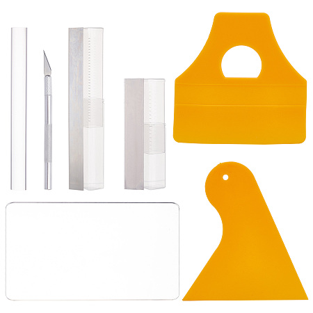BENECREAT Plastic Scraper Tool, Triangle, with Acrylic Rods Solid and Acrylic Transparent Pressure Plate, Steel Carving Knifes, Flexible Polymer Clay Cutters, Mixed Color, Scraper: 2pcs/set, Rods Solid: 1pc/set, Plate: 1pc/set, Knifes: 5pcs/set, Clay Cutters: 4pcs/set