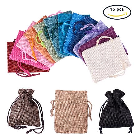 PandaHall Elite 15 Color Burlap Packing Pouches Drawstring Bags 2.7 x 3.5