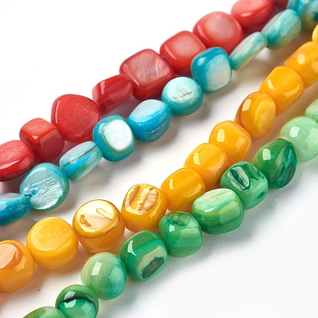 NBEADS Freshwater Shell Beads Strands, Dyed, Nuggets, Mixed Color, 6~8x6~9x4~7mm, Hole: 0.5mm; about 49~56pcs/strand, 15.2~15.5