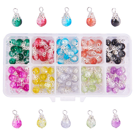 PandaHall Elite 100pcs 10 Color Drops Crackle Glass Beads with Silver Bead Cap Drops Beads Charms Pendants for Jewelry Making Necklace Earring Accessory