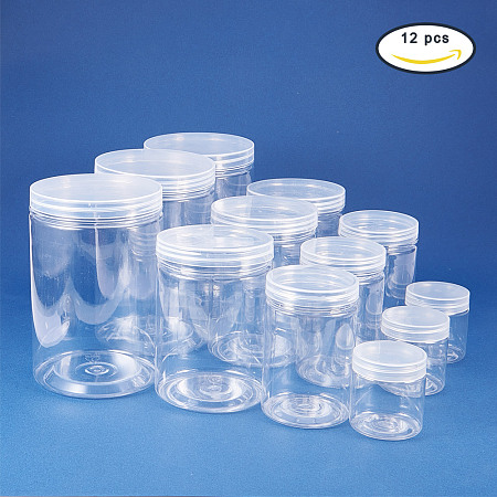 BENECREAT 12 PACK Clear Plastic Box for candy cylinders, display, storage, packaging, organizing and showcasing (4 Size)