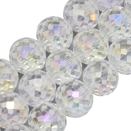 Arricraft About 100Pcs 12mm Electroplate Glass Beads Faceted Frosted Round Beads Briolette Rainbow Plated Clear Crystal Bead for Jewelry Making