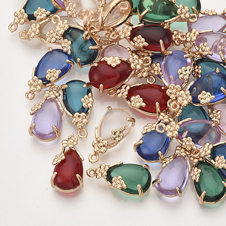 NBEADS Glass Pendants, with Golden Tone Brass Open Back Settings, Teardrop, Mixed Color, 17x8.5x5mm, Hole: 1mm
