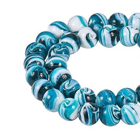 NBEADS 100 pcs 14mm Handmade Lampwork Round Loose Beads for Jewelry Making DIY Bracelet Necklace, Darkcyan, Hole: 1~2mm