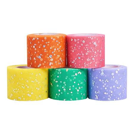 BENECREAT 125 Yards 2 Inch Sequin Tulle Roll Glitter Sequin Fabric Netting Tulle Roll for Head Flower Tutu Skirt Wedding Party Decorations (25Yards/Roll)-Macaron Color