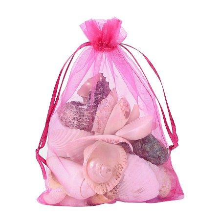 ARRICRAFT 100 PCS 5x7 inch MediumVioletRed Organza Drawstring Bags Party Wedding Favor Gift Bags