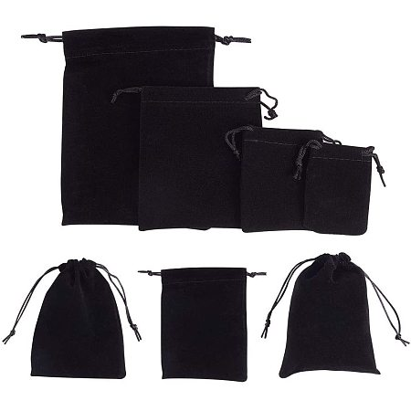 NBEADS 32 PCS Velvet Cloth Drawstring Bags, 4 Differents Black Jewelry Bags Pouches Small Candy Gift Bags for Christmas Party Wedding Favors Bags